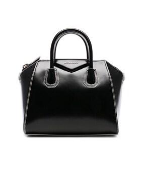 Small Smooth Shiny Leather Antigona with White Details