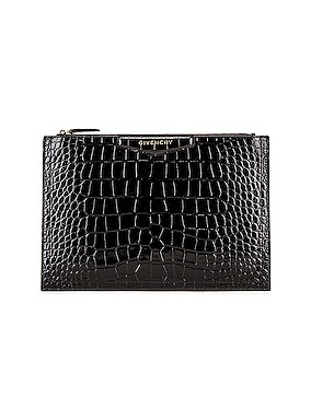 Medium Crocodile Embossed Antigona Pouch