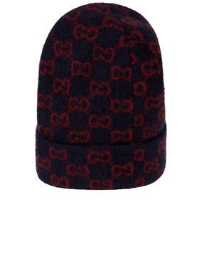 GG Wool Hat In Midnight Blue & Red