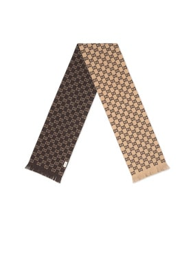 Gg Wool Scarf In Beige & Dark Brown