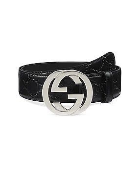 Gucci Signature Leather Belt In Nero & Nero