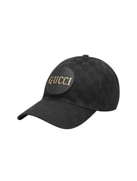 Gg Canvas Baseball Hat In Black & Black