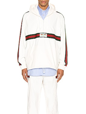 Cotton Canvas Windbreaker With Gucci Label