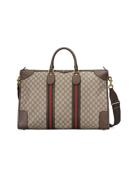 Ophidia GG Large Carry-On Duffle Bag In Beige Ebony & Green & Red