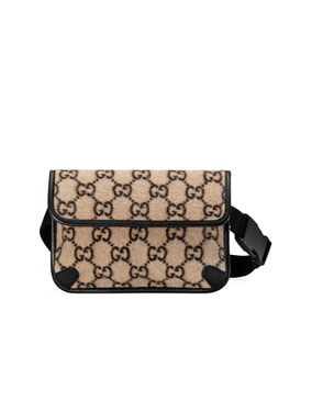 GG Wool Belt Bag In Beige Ebony & Black