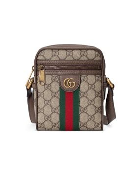 GG Shoulder Bag In Beige Ebony & Green & Red