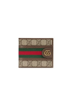 GG Wallet In Beige Ebony & Green & Red