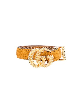 Suede Torchon Double G Buckle Belt