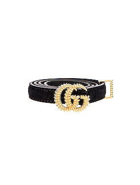 Suede Double G Buckle Belt