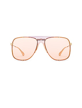 Embellished Pilot Oversized Square Sunglasses