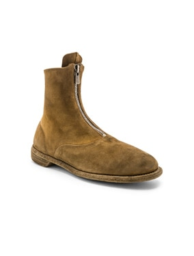 Suede Stag Front Zip Boots