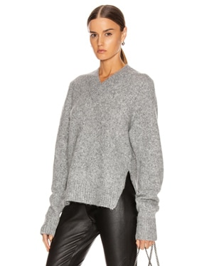 Brushed V Neck Tie Sleeve Sweater