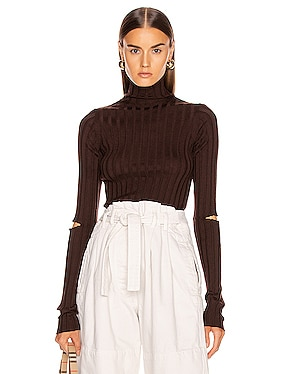 Slash Rib Turtleneck Top