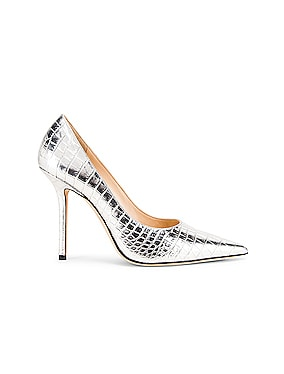 Love 100 Metallic Croc Embossed Leather Heel