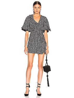 Speckle Print Flutter Sleeve Dress