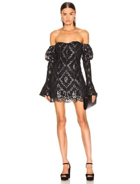 for FWRD Off the Shoulder Metallic Lace Dress