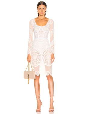 3c2654658beacb JONATHAN SIMKHAI Burnout Brocade Long Sleeve Dress in White