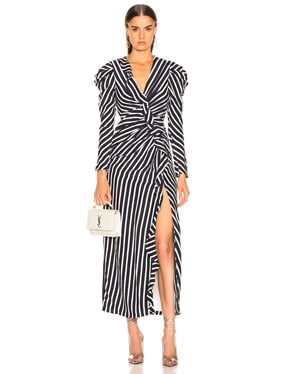 Multimedia Stripe Ruffle Slit Dress