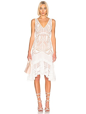 Guipure V-Neck Tiered Dress