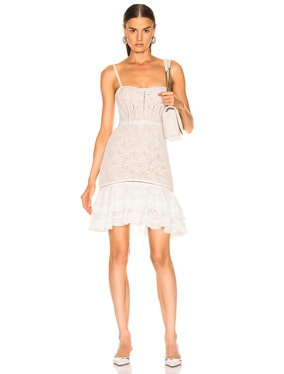 Multimedia Corded Lace Ruffle Dress