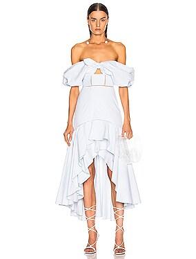 Seersucker Gingham Off the Shoulder Dress