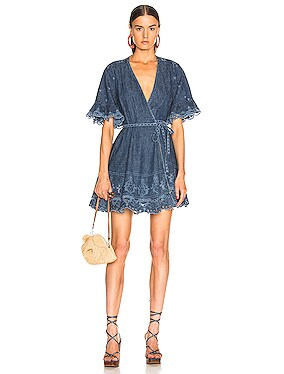Eyelet Embroidered Wrap Dress