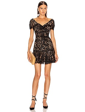 Metallic Lace Ruffle Dress