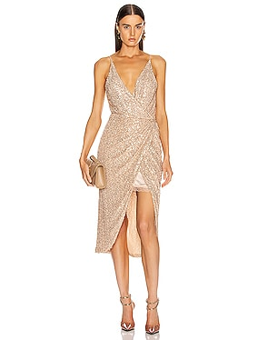 Speckled Sequin Wrap Dress
