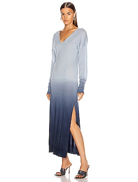Ombre Cashmere Long Sleeve Slit Dress
