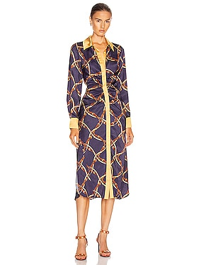 Saddle Print Ruched Shirt Dress