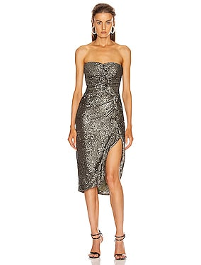 Sequin Strapless Bustier Dress