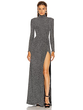 Glitter Jersey Draped Front Gown