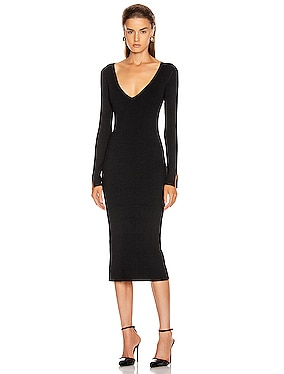 Deep Rib Open Neck Dress