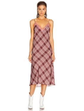 Plaid Lace Slip Dress