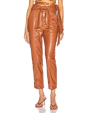 Vegan Leather Tie Waist Pant
