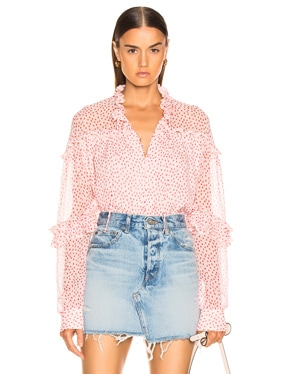 Speckle Print Buttoned Top