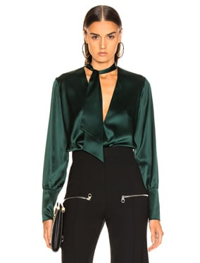 Silk Wrap Front Bodysuit