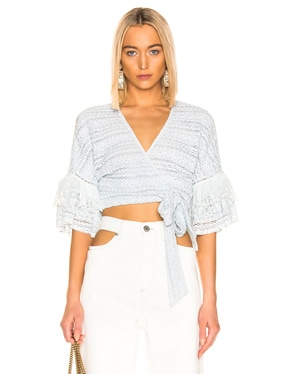Mixed Knit Lace Wrap Top