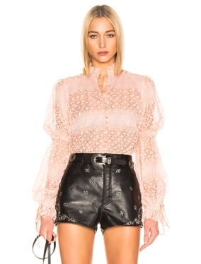 Mixed Knit Lace Mock Neck Bodysuit