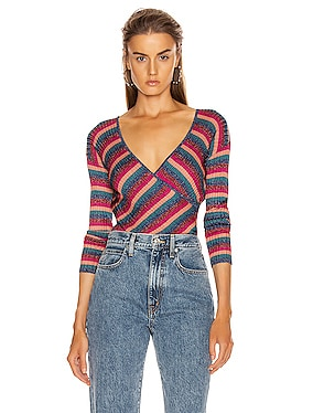 Metallic Stripes Cross Front Top