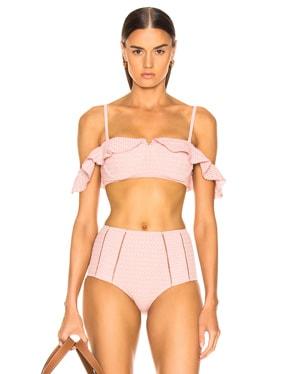 Lace Ruffle Cold Shoulder Bikini Top