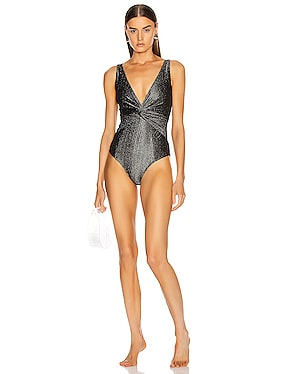 Metallic Front Twist Swimsuit