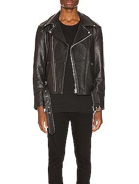 Pebbled Leather Biker Jacket