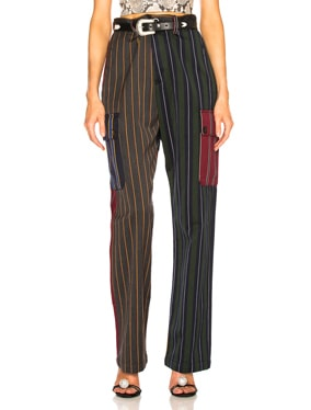 Patchwork Stripe Cargo Trouser