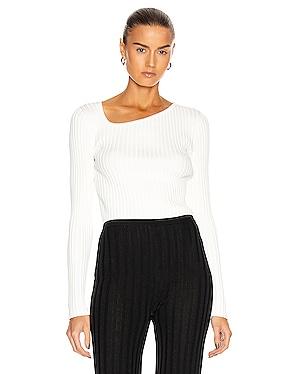 Ribbed Asymmetric Collar Sweater