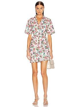 Ruched Skirt Cotton Shirt Dress