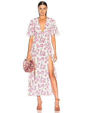 Deep Neck Petal Sleeve Dress