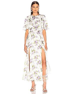Petal Sleeve Slit Front Dress