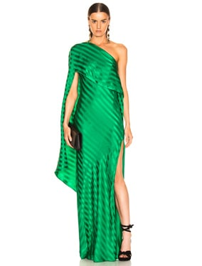 One Shoulder Cape Gown
