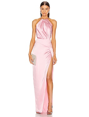 Pleat Halter Gown With Slit